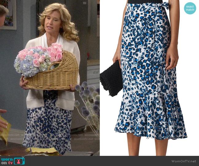 Whistles Brushed Leopard Print Wrap Midi Skirt worn by Vanessa Baxter (Nancy Travis) on Last Man Standing