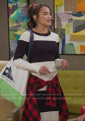 Alexa's stripe ribbed dress on Alexa & Katie