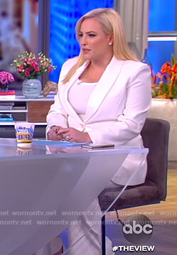 Meghan's white blazer and pants on The View