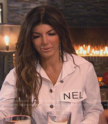Teresa's white Chanel logo shirt on The Real Housewives of New Jersey