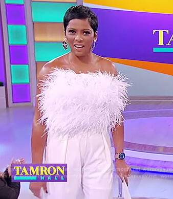 Tamron's white feather crop top on Tamron Hall Show