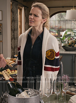 Mallory's denim jumpsuit and cardigan on Grace and Frankie