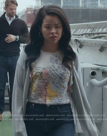 Mariana's white map print top on Good Trouble