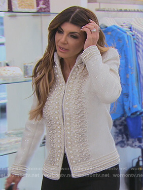 Teresa's white pearl embellished jacket on The Real Housewives of New Jersey