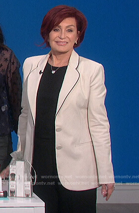 Sharon's white piping trim blazer on The Talk