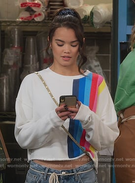 Alexa's distressed denim jacket on Alexa & Katie