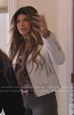 Melissa's black floral maxi dress on The Real Housewives of New Jersey
