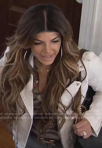 Teresa's white studded moto jacket on The Real Housewives of New Jersey