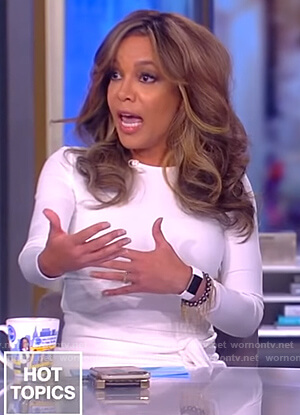 Sunny's white tie waist dress on The View
