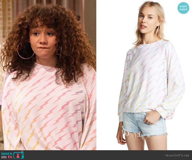Wildfox Bolt Gradient Sommers Sweater worn by Jade (Talia Jackson) on Family Reunion