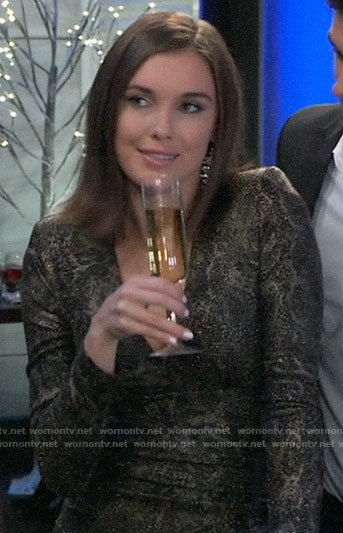 Willow's metallic long sleeve dress on General Hospital