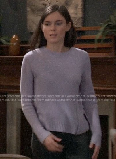 Willow's purple side zip sweater on General Hospital