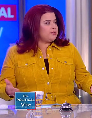 Ana's yellow coruroy belted jacket on The View