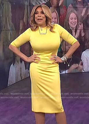 Wendy's yellow midi dress on The Wendy Williams Show