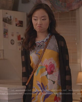 Janet's yellow floral embroidered top on Kims Convenience