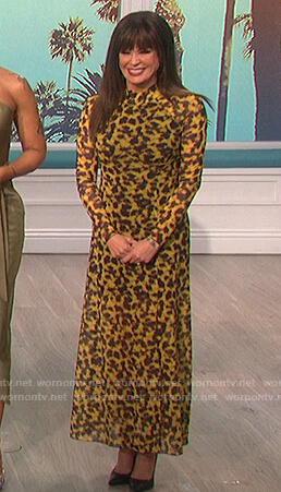 Marie's yellow printed long sleeve dress on The Talk