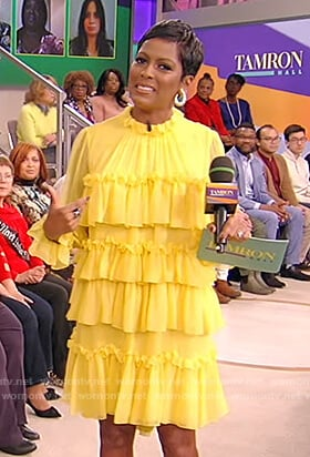 Tamron's yellow tiered ruffle dress on Tamron Hall Show