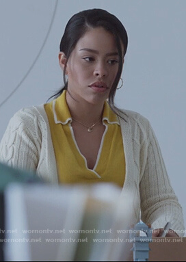 Mariana's yellow tipped sweater on Good Trouble