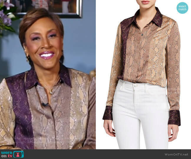 Yvonet Python-Print Blouse by Equipment worn by Robin Roberts  on Good Morning America
