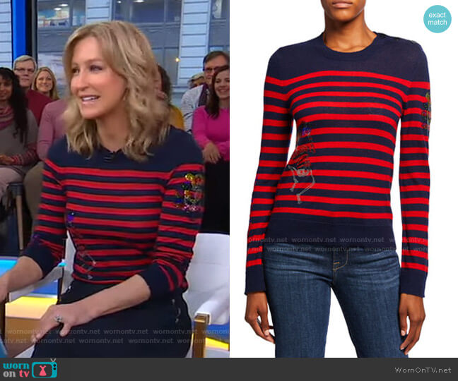Delly Striped Embellished Sweater by Zadig & Voltaire worn by Lara Spencer  on Good Morning America