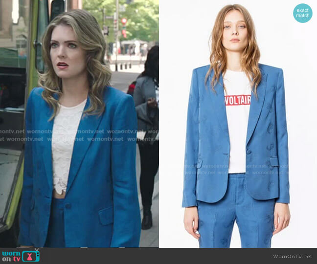 Jacquard Jacket by Zadig & Voltaire worn by Sutton (Meghann Fahy) on The Bold Type