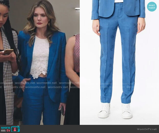 Jacquard Pants by Zadig & Voltaire worn by Sutton (Meghann Fahy) on The Bold Type