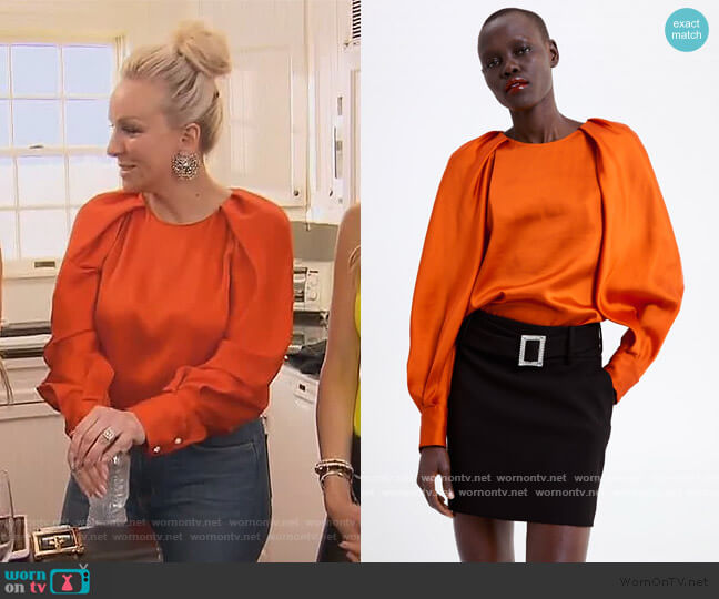 Blouse with Voluminous Sleeves by Zara worn by Margaret Josephs  on The Real Housewives of New Jersey
