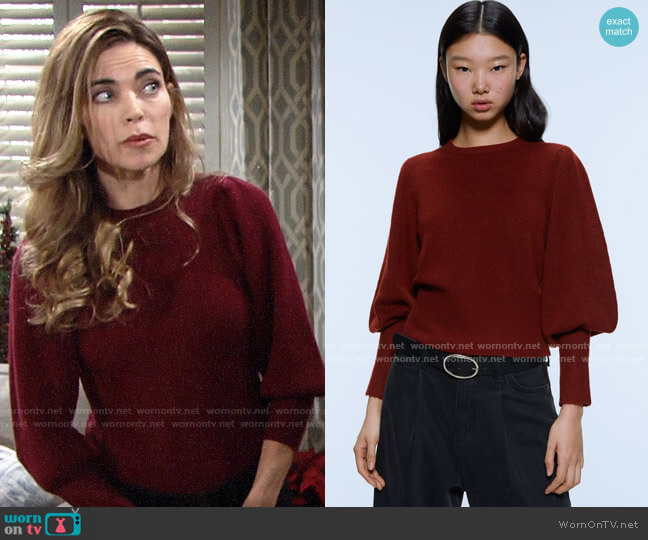 Zara Balloon Sleeve Sweater worn by Victoria Newman (Amelia Heinle) on The Young & the Restless