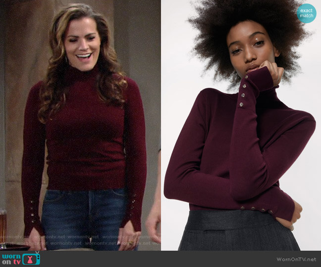 Zara Basic Turtleneck Sweater in Burgundy worn by Chelsea Lawson (Melissa Claire Egan) on The Young & the Restless