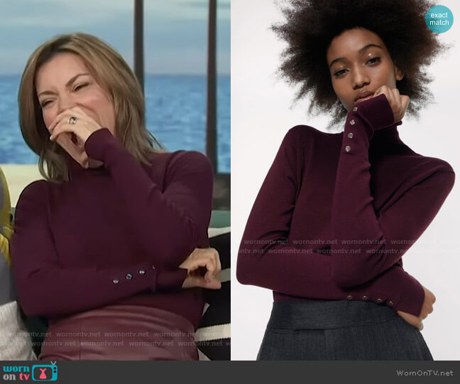 Turtleneck Sweater by Zara worn by Kit Hoover  on Access Hollywood