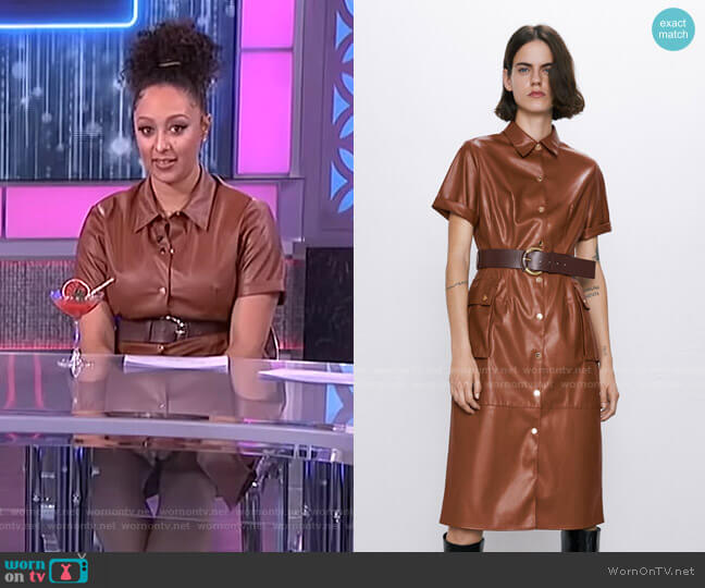 Faux Leather Dress by Zara worn by Tamera Mowry  on The Real