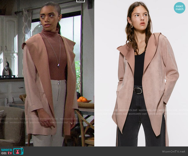 Zara Faux Suede Jacket worn by Zoe (Kiara Barnes) on The Bold & the Beautiful