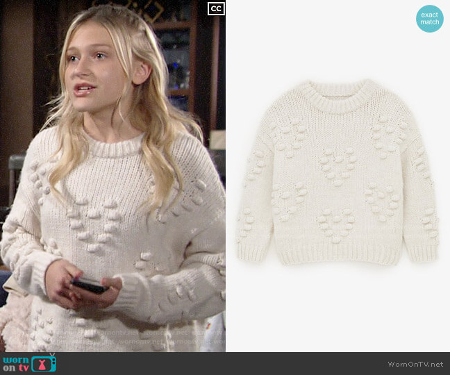 Zara Knit Sweater with Embroidered Balls worn by Faith Newman (Alyvia Alyn Lind) on The Young & the Restless