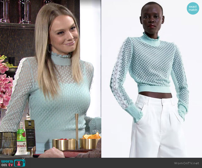 Zara Knit Sweater with Ruffles worn by Abby Newman (Melissa Ordway) on The Young & the Restless