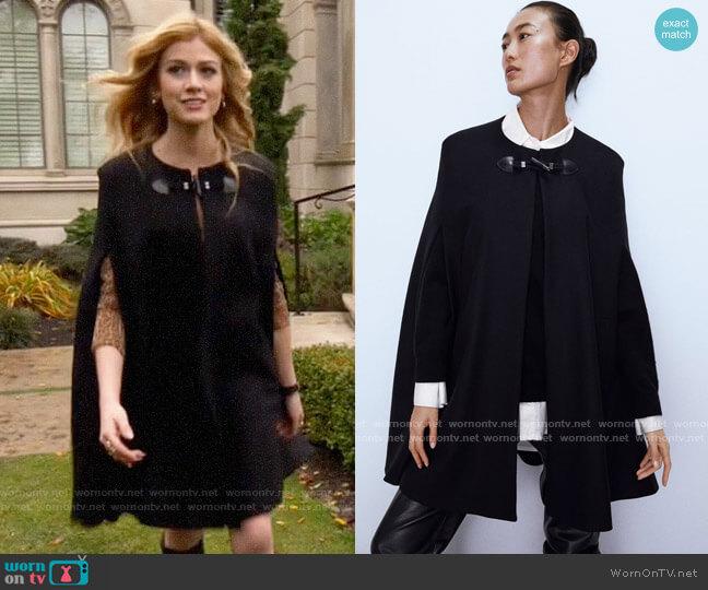 Zara Long Cape with Pockets worn by Mia Smoak (Katherine McNamara) on Arrow