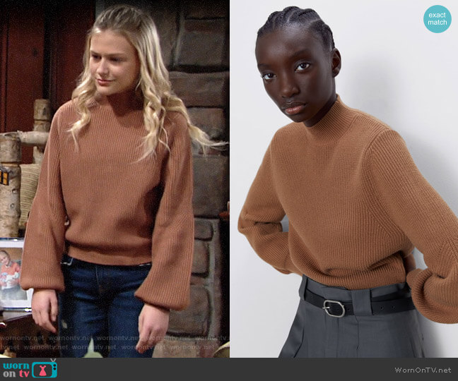 Zara Mock Neck Sweater worn by Faith Newman (Alyvia Alyn Lind) on The Young & the Restless