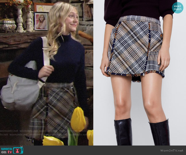 Zara Plaid Tweed Skirt worn by Faith Newman (Alyvia Alyn Lind) on The Young & the Restless