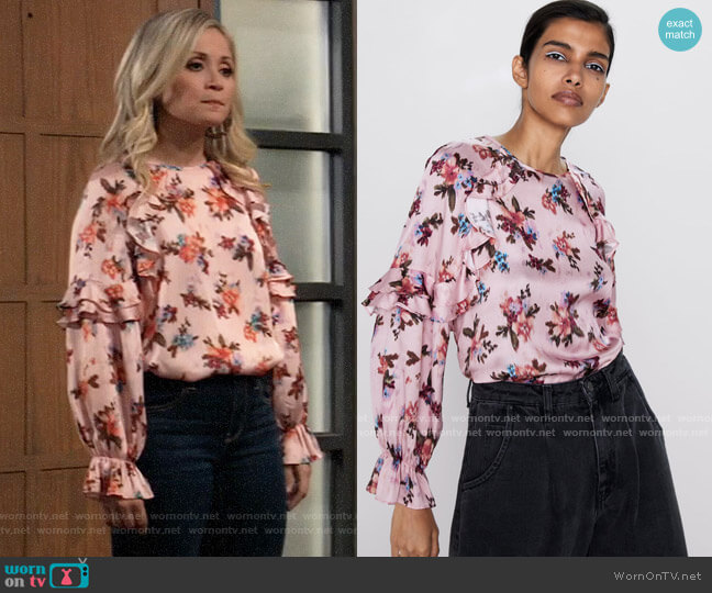 Zara Printed Blouse worn by Lulu Spencer Falconeri (Emme Rylan) on General Hospital