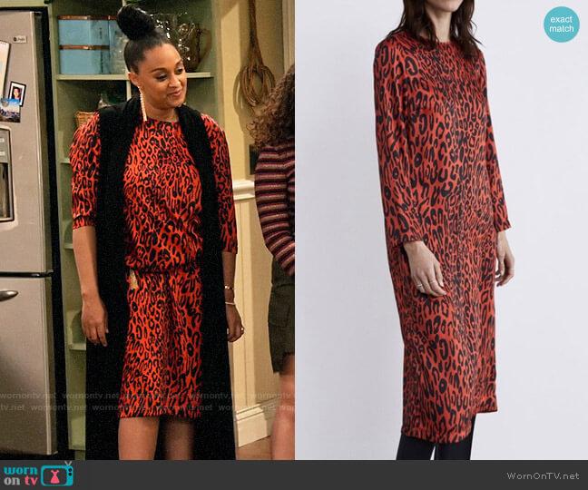 Zara Animal Print Dress worn by Cocoa McKellan (Tia Mowry-Hardrict) on Family Reunion