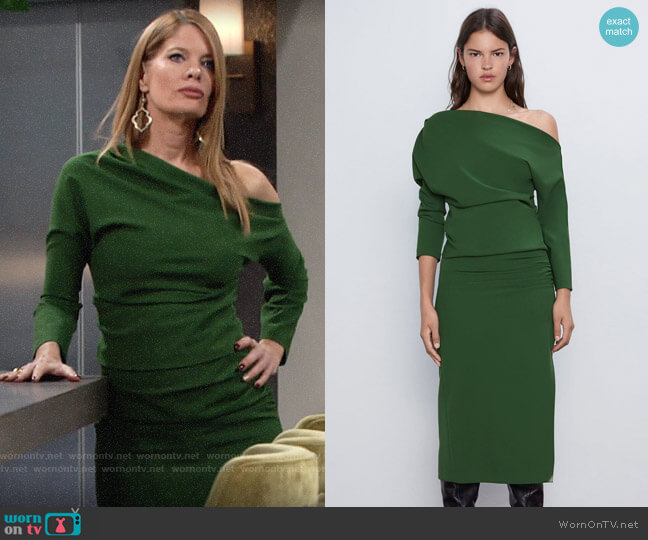 Zara Green Ruched Sleeve Top and Midi Pencil Skirt worn by Phyllis Summers (Michelle Stafford) on The Young & the Restless