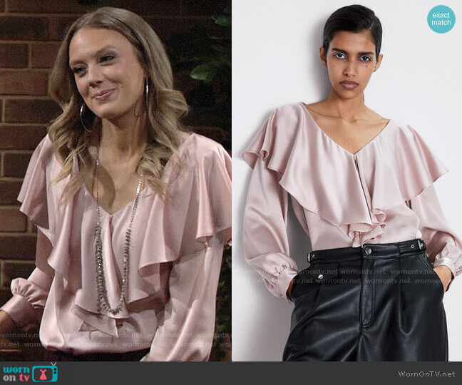 Zara Sateen Blouse with Ruffle worn by Abby Newman (Melissa Ordway) on The Young & the Restless