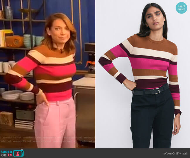 Striped Sweater by Zara worn by Ginger Zee  on Good Morning America