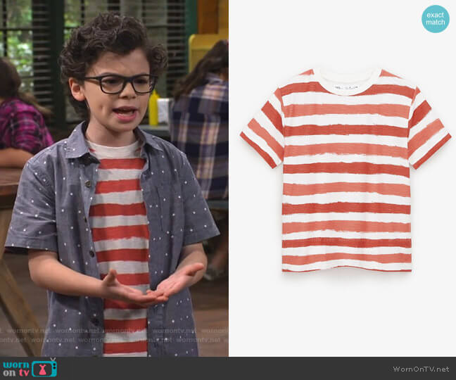 Striped T-Shirt by Zara worn by Matteo Silva (Raphael Alejandro) on Bunkd