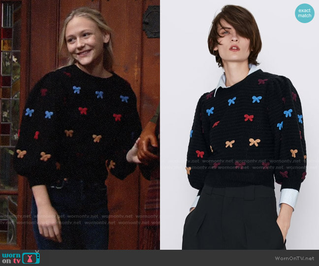 Zara Sweater with Ties worn by Faith Newman (Alyvia Alyn Lind) on The Young & the Restless