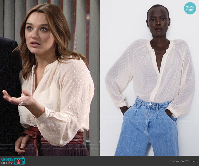 Zara Semi Sheer Swiss Dot Blouse worn by Summer Newman (Hunter King) on The Young & the Restless