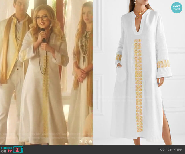 Phryne Embroidered Linen kaftan by Zeus + Dione worn by Fallon Carrington (Elizabeth Gillies) on Dynasty