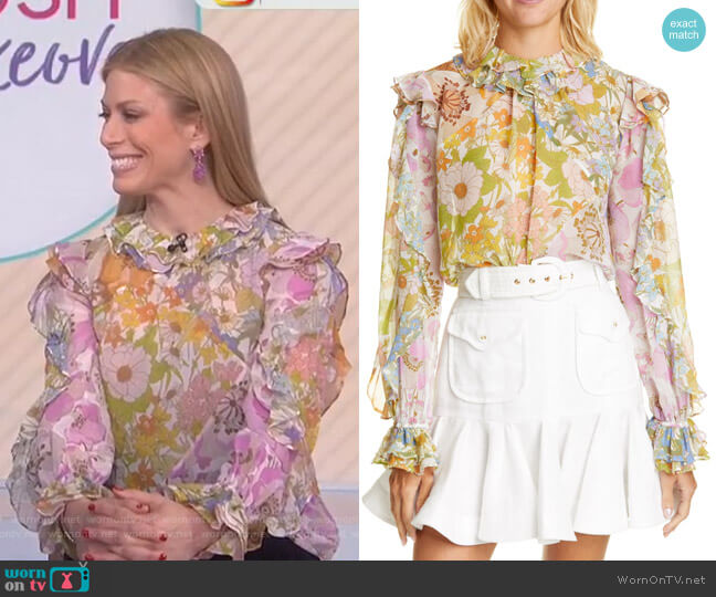 Super 8 Ruffle Floral Print blouse by Zimmermann worn by Jill Martin  on Today