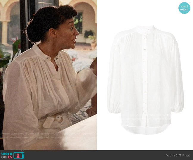 Zimmermann Band Collar Shirt worn by Rainbow Johnson (Tracee Ellis Ross) on Blackish