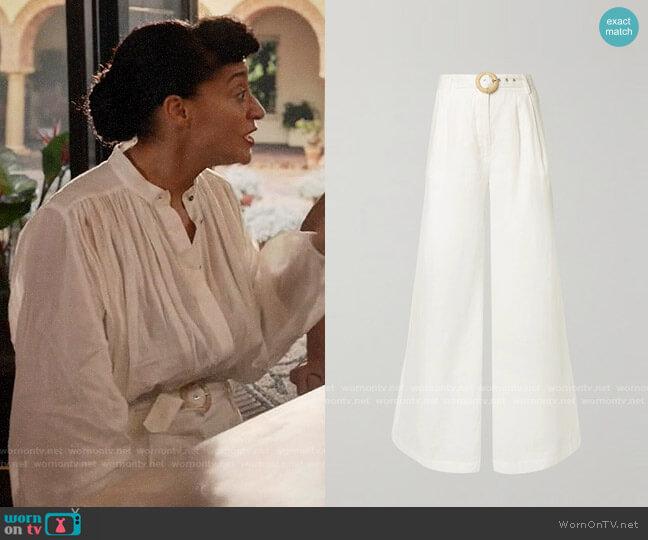 Zimmermann Honour belted linen wide-leg pants worn by Rainbow Johnson (Tracee Ellis Ross) on Blackish