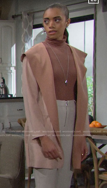 Zoe's pink suede coat on The Bold and the Beautiful